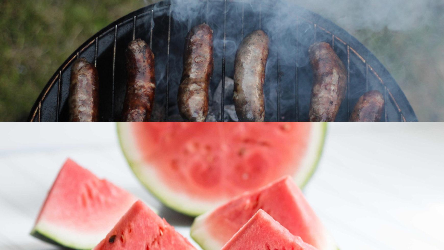 Hot Dog & Watermelon Lunch